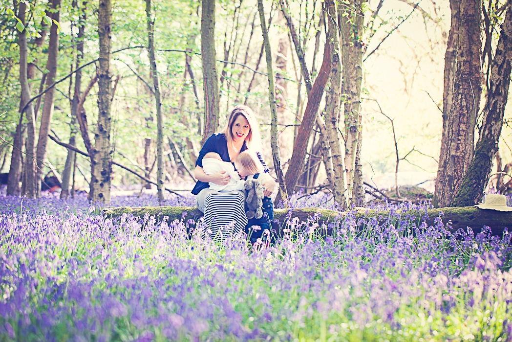 Mother and children in the bluebells
